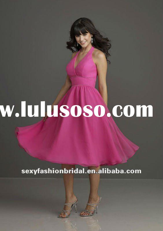 Halter A-line ruffle Natural waist knee length light hot pink chiffon bridesmaids dresses