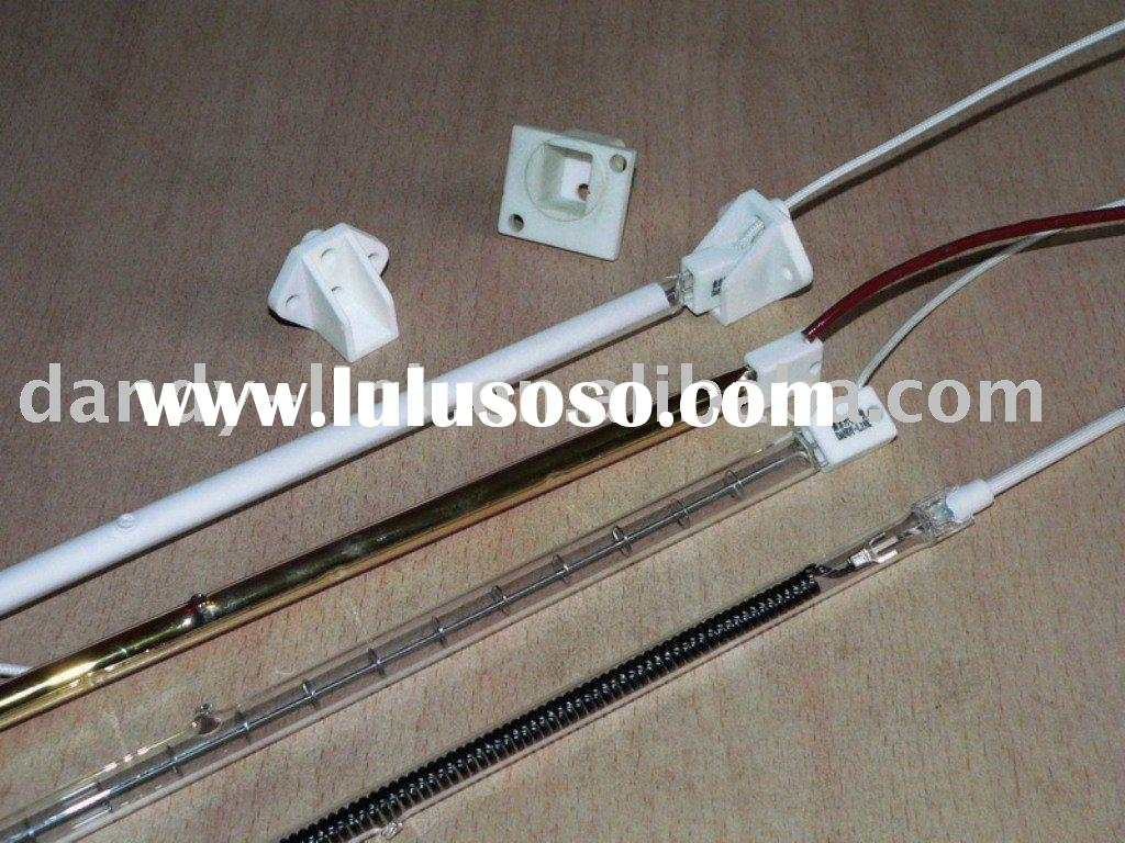 Infrared heater element and quartz heating lamp with reflector