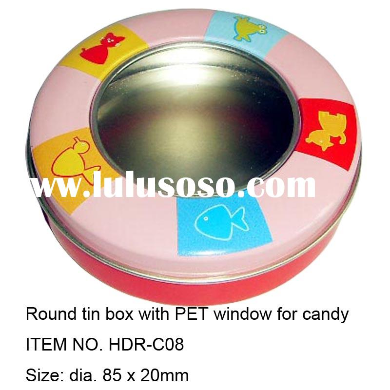 Tin box with window tin candy tin