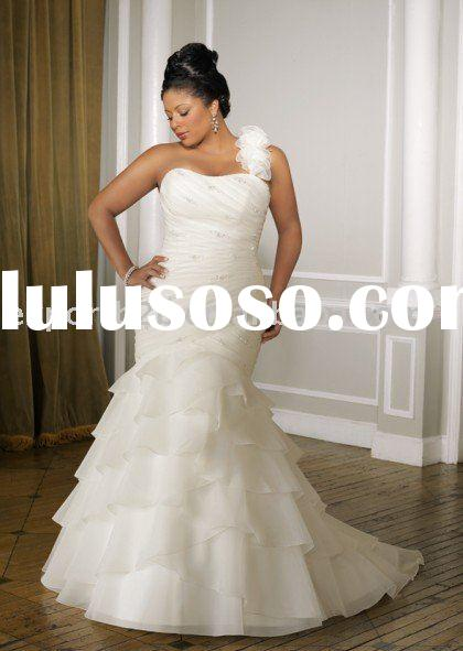 fashion design one shoulder plus size mermaid wedding dresses