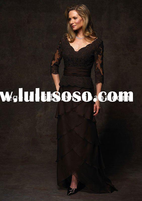 2011 vintage v neck 3/4 sleeves chocolate embroidery black lace mother of groom dress long 1966