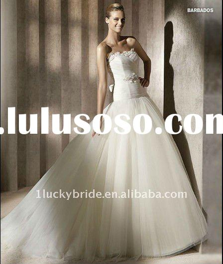 2012 Stunning Strapless A-line Tulle Lace Wedding dress bride gown bridal Dress