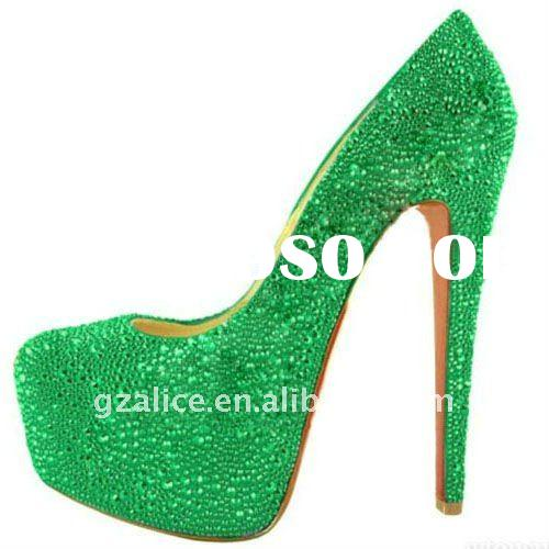 CL210 New design very beautiful high-heel lady dress shoes,crystal red sole fashion shoes,light gree