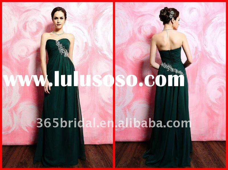 Dark Green Embroidered Sweet-heart Bridesmaid Dress 2012