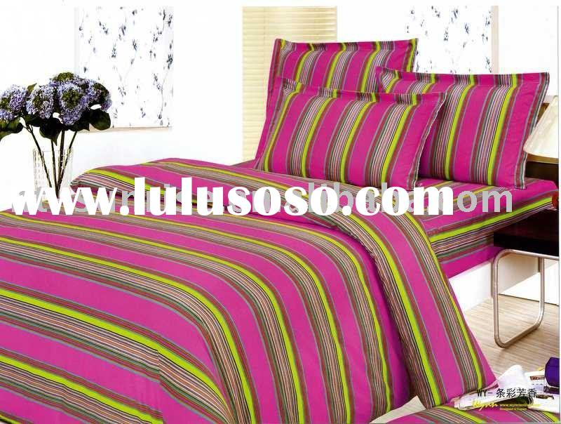 Fancy stripe 100%cotton pigment printing 4pcs bedding set/pillow case/bed sheet/flat sheet/quilt cov