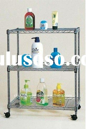 Home 3 -layer steel shelving / chrome finishing frame / wheels Storage Rack