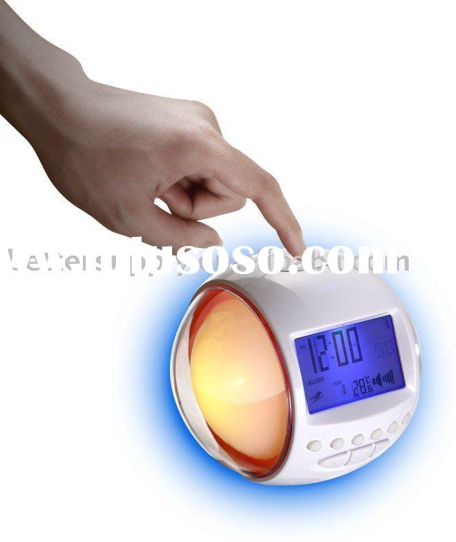 wake up alarm clock radio with FM digital radio/7 color changing lights with 6 nature sound alarm