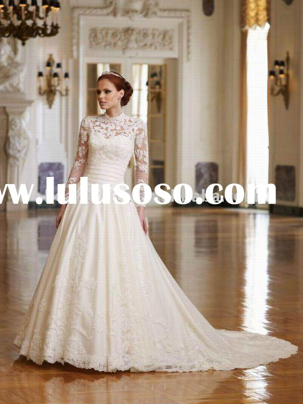 2011 luxurious lace designer long sleeve bridal gown white wedding dress