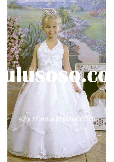 2011 princesst white satin halter lace up ball gown long flower girl's wedding dress