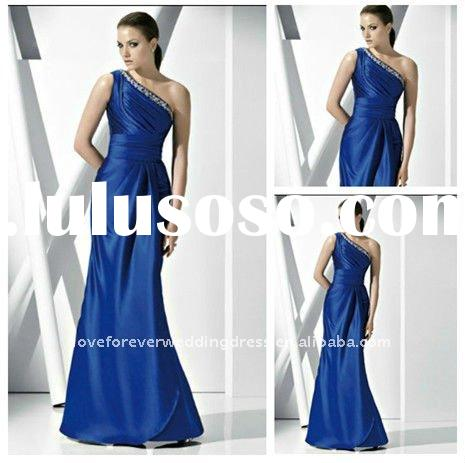 2012 New One Shoulder Royal Blue Evening Dress Gown
