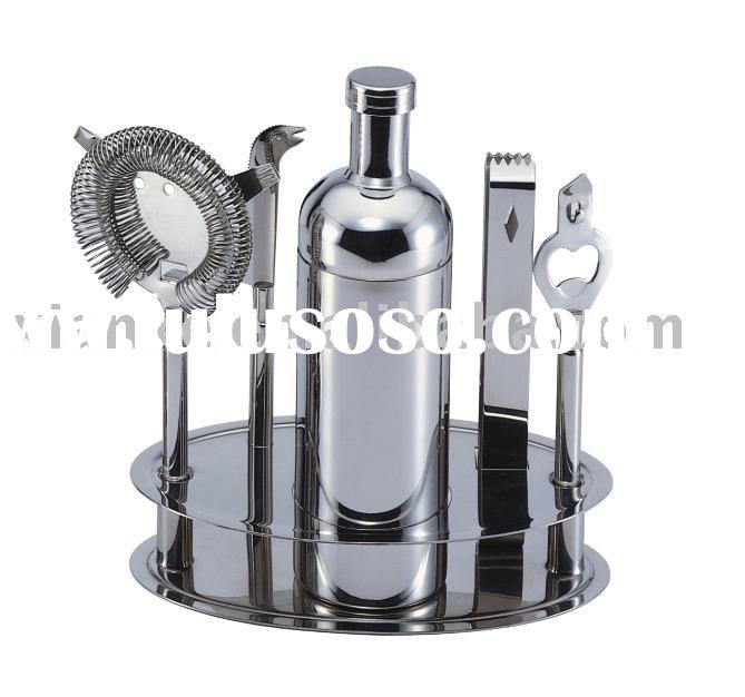 6-piece Stainless Steel Wine Bar Set with Shaker & Long Handle Tools