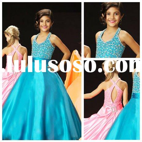 Ball Gown Halter Tulle Satin Flower Girl Dresses 2012