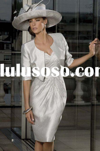 MD012 2012 New styles silver Satin beaded with short sleeves jacket Mother of bride dresses