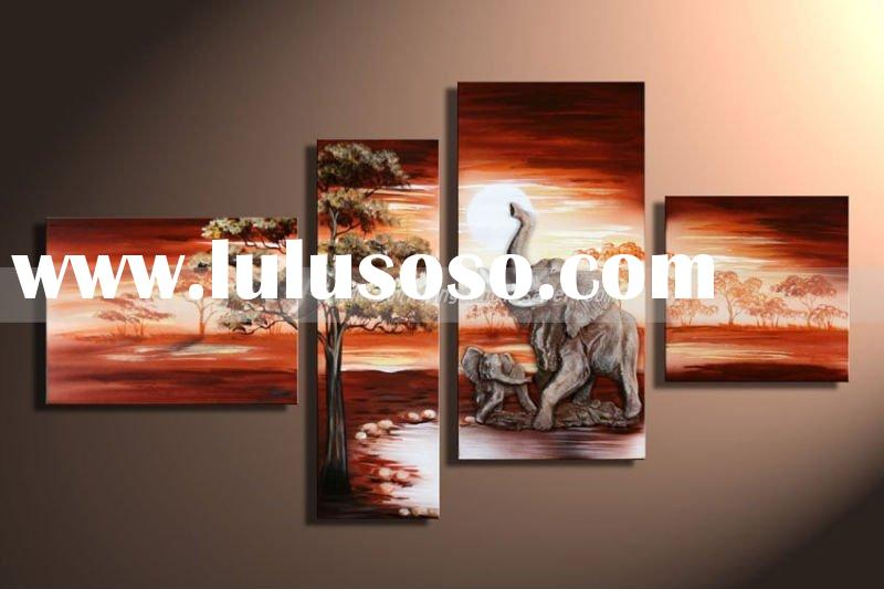 Modern Group Landscape Animal Elephants Oil Painting,Abstract Art,four panels,Huge Size