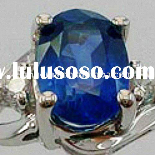 oval cut bling sea blue and beautiful cubic zirconia rings