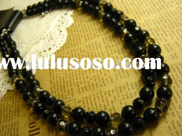 hot sale black diamond beaded necklace