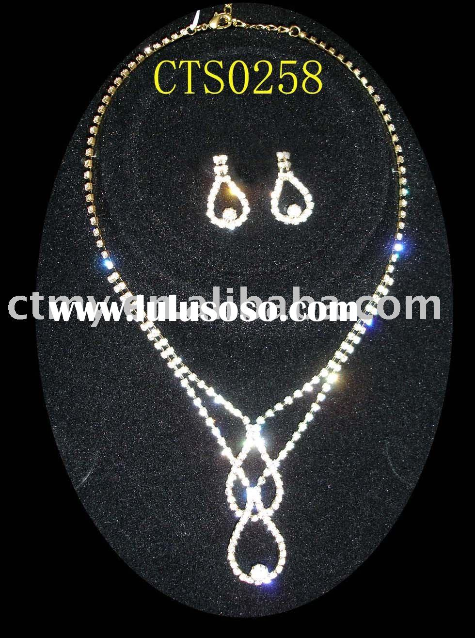 CTS0258 wedding or bridal or CZ diamond necklace and earring fashion party jewelry set costume or im