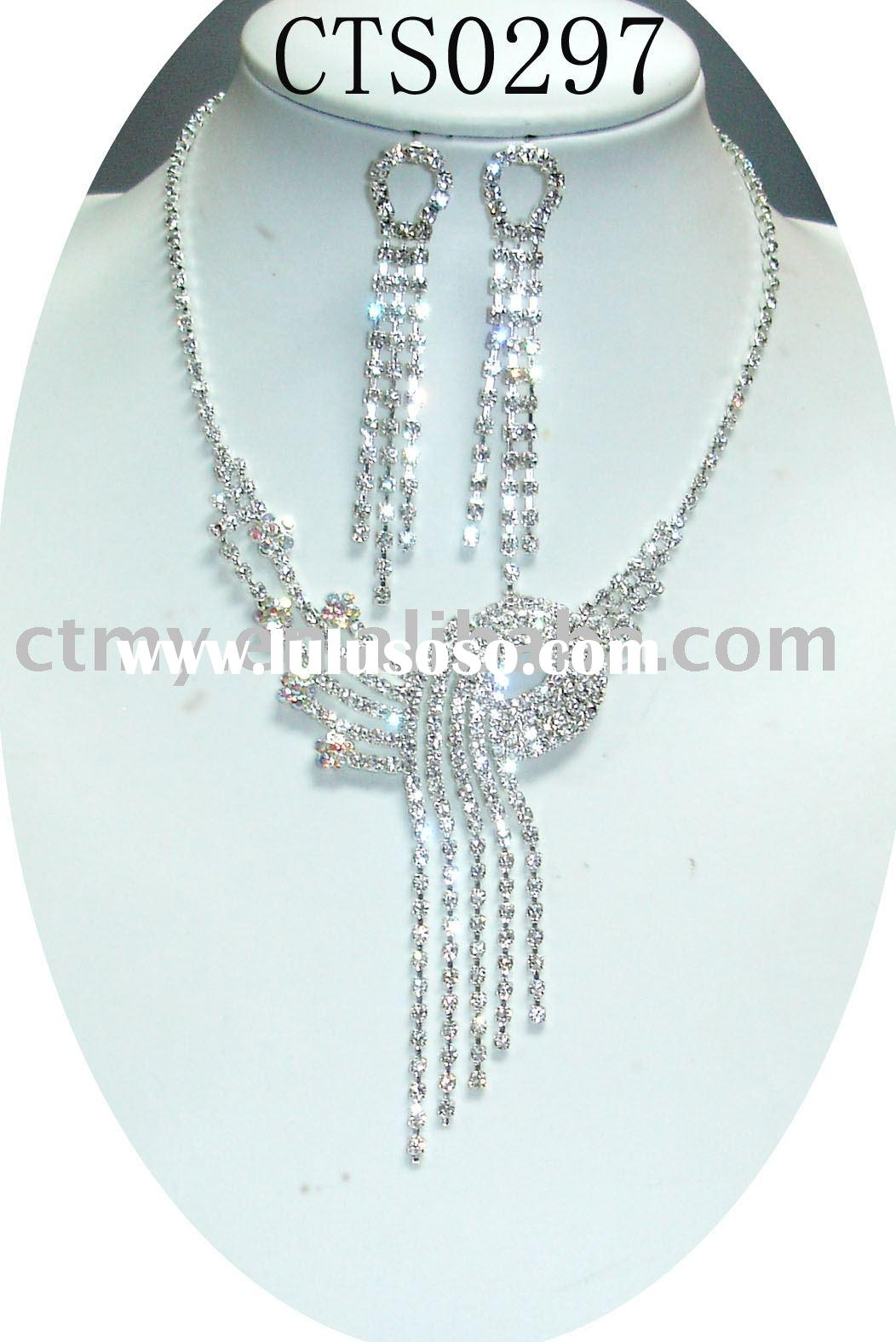 CTS0297 wedding or bridal or CZ diamond necklace and earring fashion party jewelry set costume or im