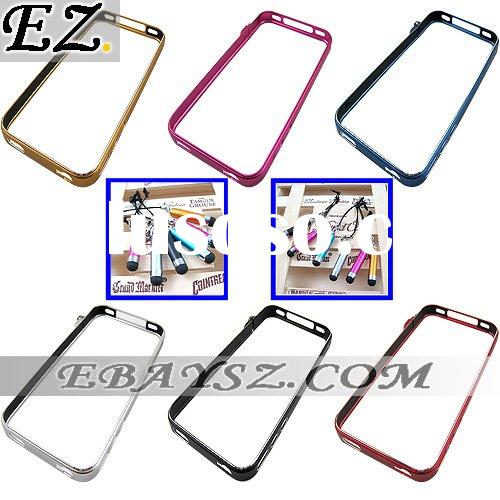 Fashion Cross Line MC-1 Metal Case Aluminum Metal Bumper With Touch Pen for iPhone 4 IP-636