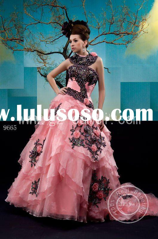 elegant pink and black wedding dress with lace appliqued and beaded, evening dress