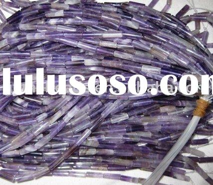 gemstone amethyst tube/column beads