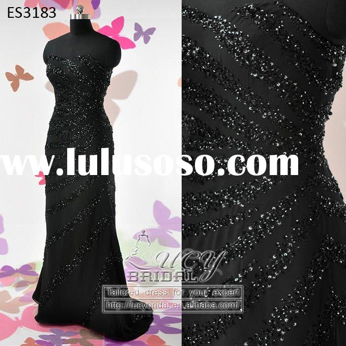 2011 Hot Sale Elegant Heavy Beaded Black Chiffon Evening Dress ES3183