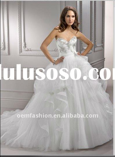 2012 Newest Ball Gown Organza Crystal Corset Wedding Dresses HL-WD2609
