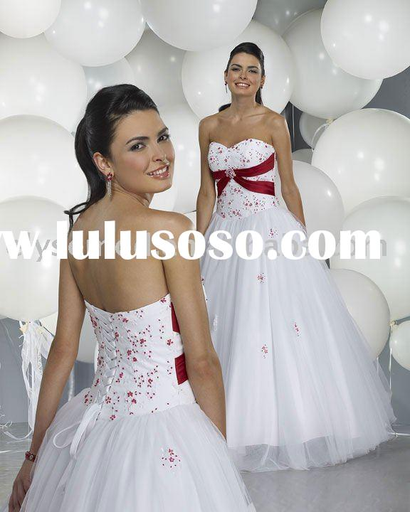 A-line atrapless sweetheart ball gown red and white organza bridesmaid dresses evening dress