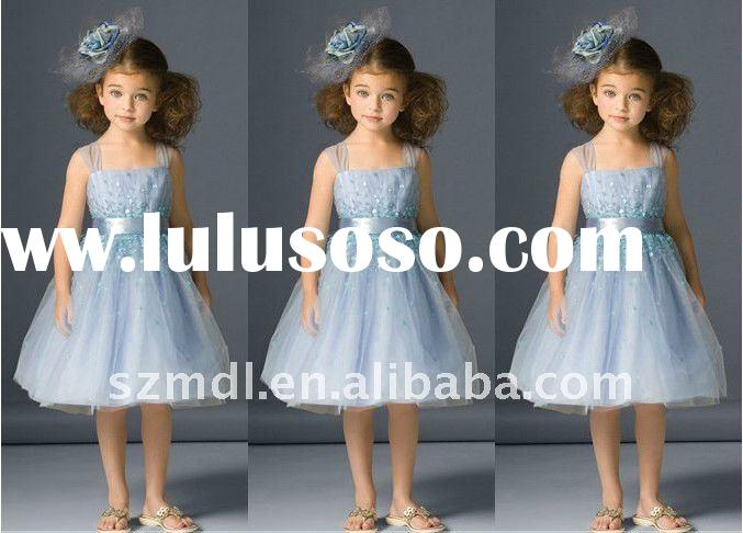Colorful spaghetti strap with sash princess ball gown flower girl dress