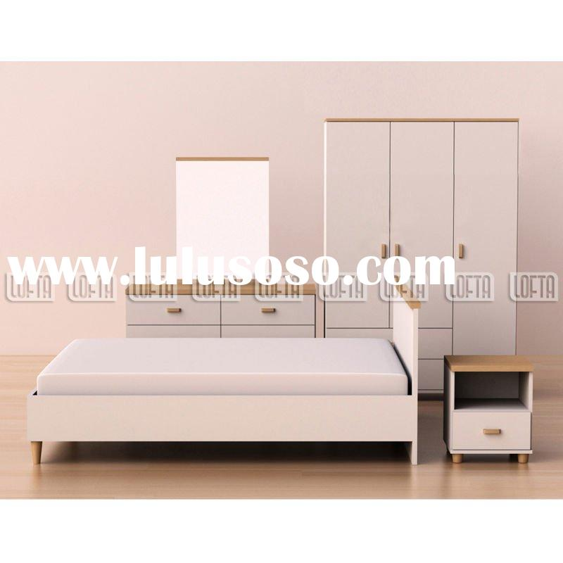 Modern white bedroom set furniture with wardrobe, dresser and queen bed