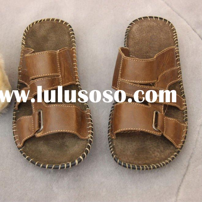New style !!! man leather slipper,indoor leather slippers