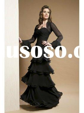 Long Sleeved Black Dress on Elegant Black Long Sleeve Chiffon Evening Dress M34 For Sale   Price