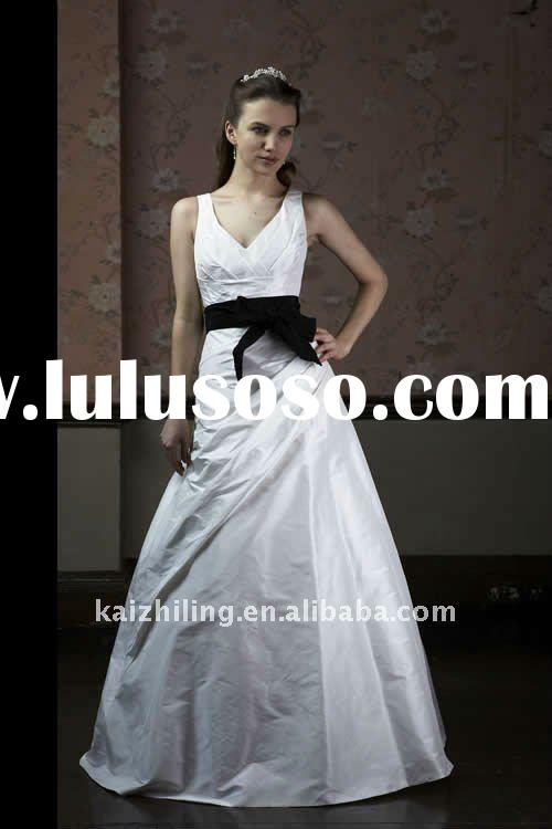 white and black ribbons v-neck taffeta 2011 hot sell bridal wedding dress