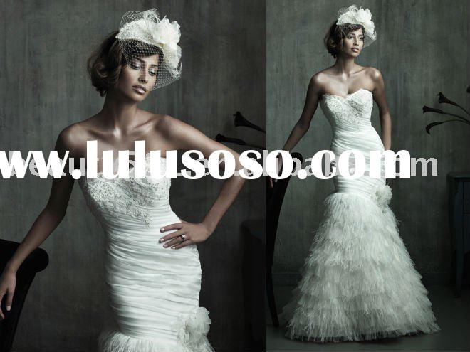 2011 hot sell elegant feathers ivory mermaid wedding dresses prom gown prom gresses ball gownYP0087