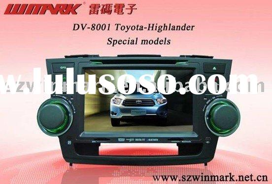 8inch 2 din in dash special digital car dvd player for toyota highlander with gps