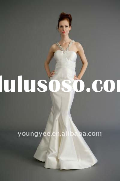 Satin mermaid lace halter neck low open back wedding dress(WD10134)
