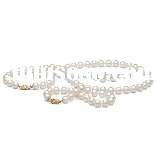 high luster white color freshwater fashion pearl jewelry set