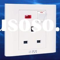 British Standard electrical socket with switch and indicator