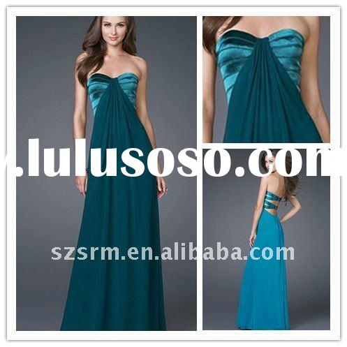 Cheap Simple Strapless Long Formal Evening Dresses 2012