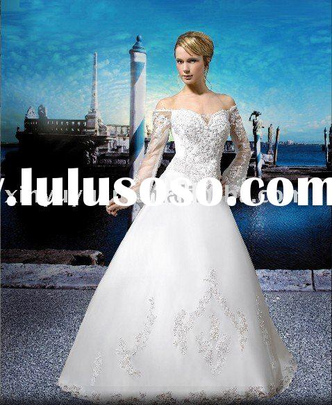 Lace long sleeves white sweetheart neck CL-006 wholesale wedding dress wedding gown top quality