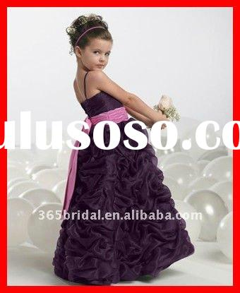 Purple Pleated A Line Spaghetti strap organza flower girl dresses for weddings 2012