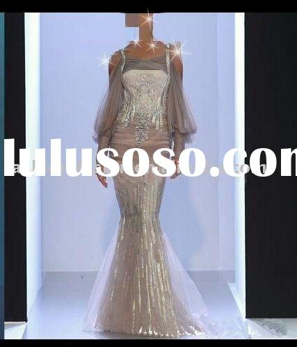 RE117 Long sleeves beaded bridesmaid dress prom dress arabic evening dresses