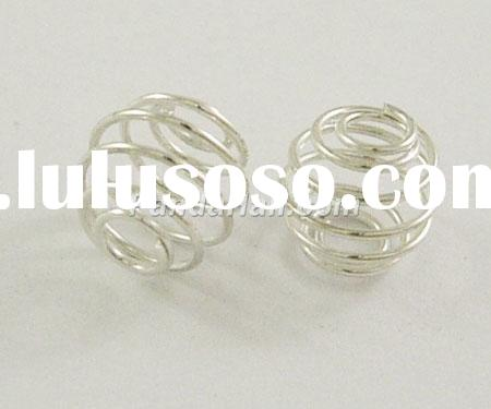 Wrap-around Cage Beads, Iron, Round, Silver Color, about 9mm in diameter, hole: 3mm, about 1780pcs/5