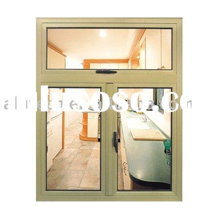 aluminum casement window (french type, fixed top, A-grade aluminum & temperes glass with AS cert
