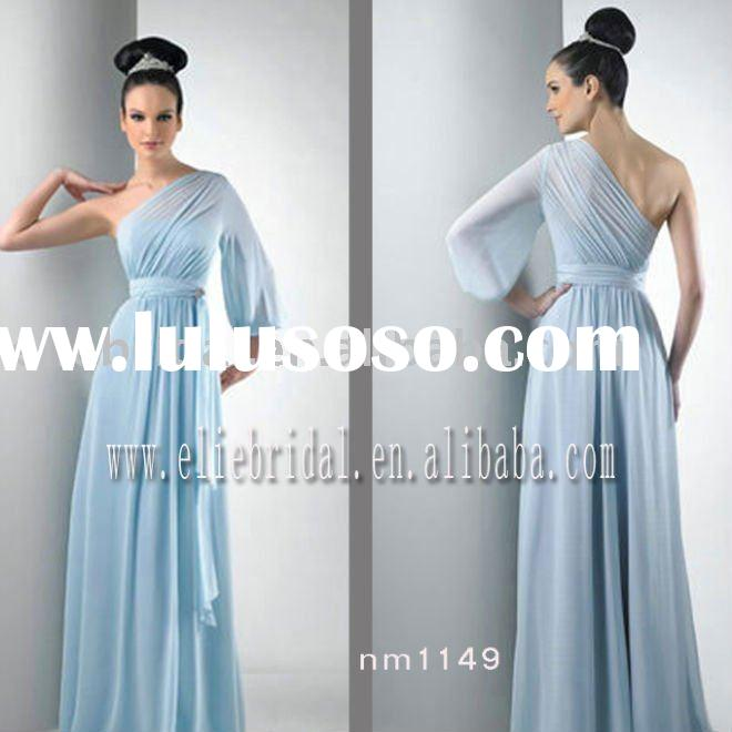 customer size one shoulder cap sleeve long chiffon bridesmaid dress