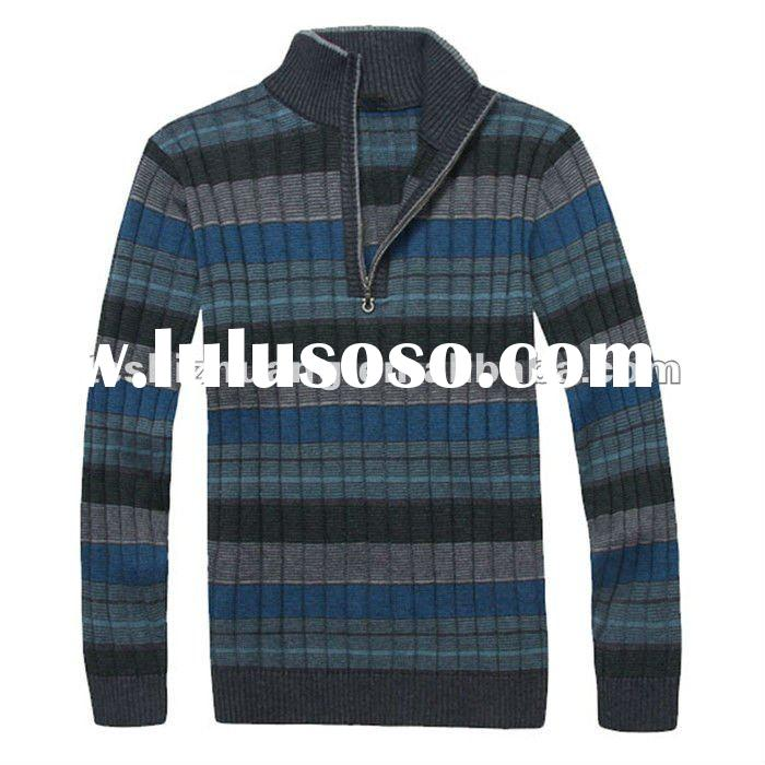 small MOQ 100% wool high weight stand-by collar zipper knitted pollover sweater for men