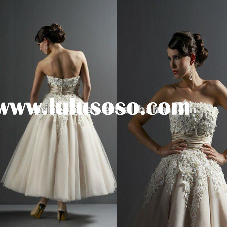 Brand New Sleeveless Tea Length Lace and Tulle Ball Gown Wedding Dresses,PV755