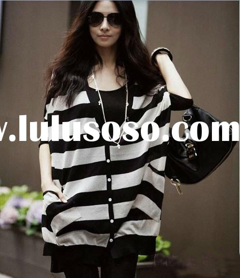 2012 top fashion short sleeve yarn dyed stripe ladies blouse