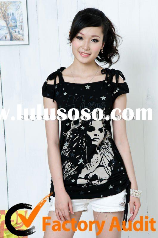 Ladies printed fashion cotton t shirt
