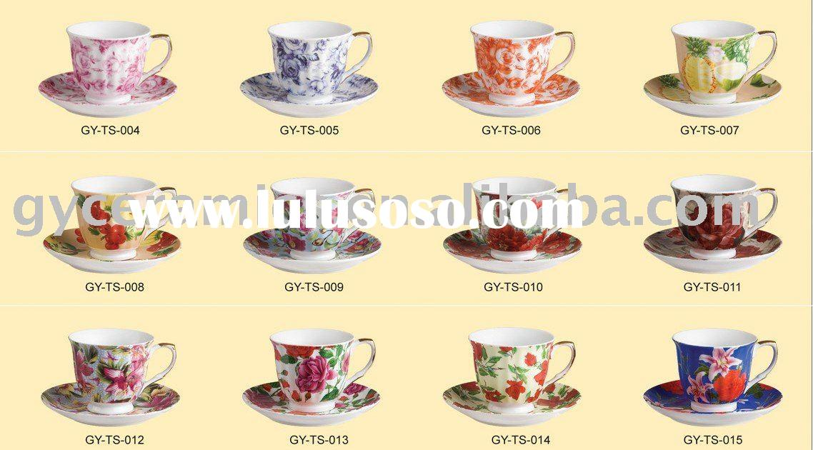 220cc Ceramic China flower tea Cup and Saucer sets
